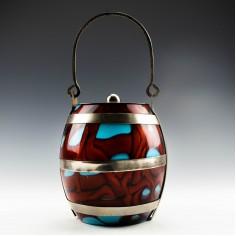 Kralik Glass Biscuit Barrel c1910