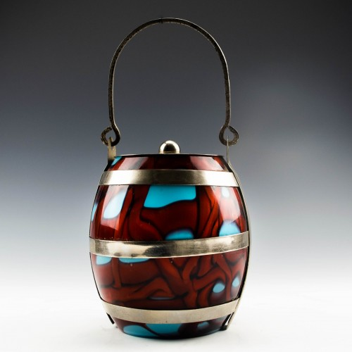 Bohemian Glass Biscuit Barrel c1910
