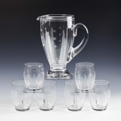 Stuart Crystal Ellesmere Engraved Lemonade Set c1938
