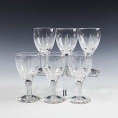 Set of Six Stuart Crystal Ellesmere Cut Port Glasses c1938