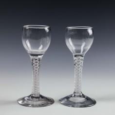 A Pair Georgian Opaque Twist Stem Wine Glasses c1760