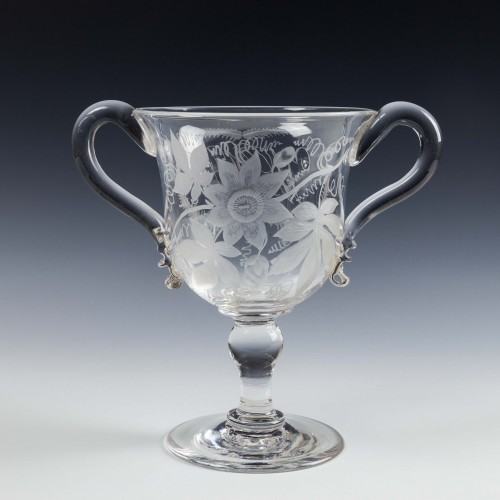 Engraved Victorian Glass Loving Cup c1890