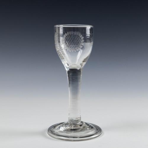 An Engraved Georgian Plain Stem Wine Glass with Folded Foot c1745