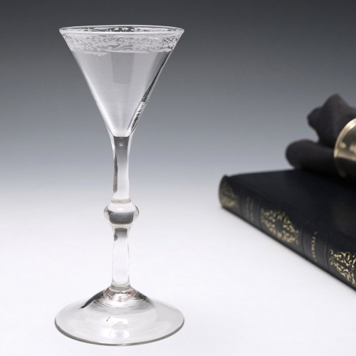 Engraved Georgian Balustroid Gin Or Cordial Glass c1760