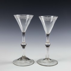 Pair Engraved Georgian Balustroid Gin Or Cordial Glasses c1760