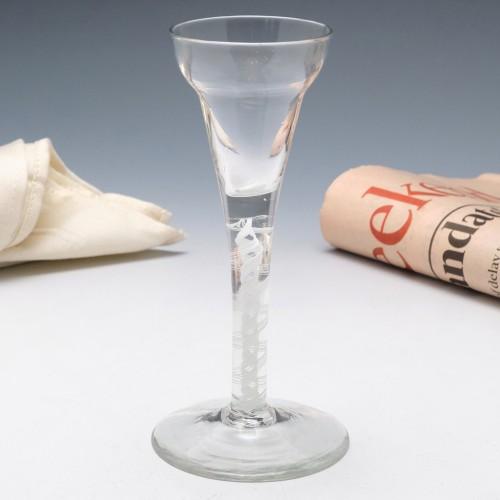 A Pan Top Georgian Opaque Twist Wine Glass c1760