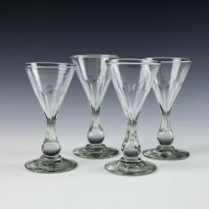 Four Engraved Edwardian Liqueur Glasses