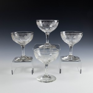 Four Engraved Victorian Champagne Coupes c1890