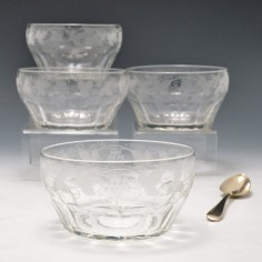 Four Engraved Glass Finger Bowls