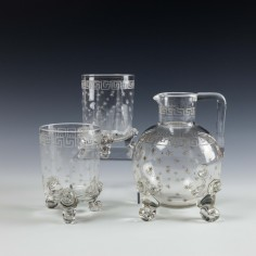 Thomas Webb Lion Mask Water Jug and Whiskey Tumbler Set c1885
