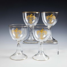 Four 18th Century Gilded Wine Glasses c1900