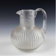 Victorian Threaded Glass Water Jug c1880