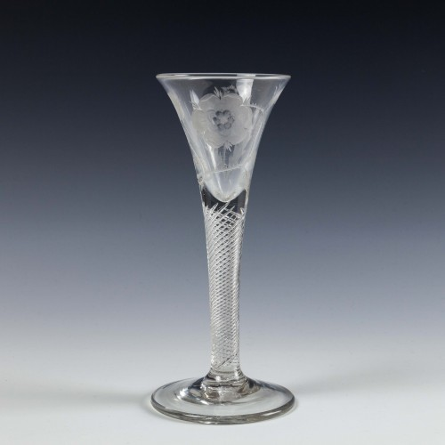 A Two Bud Jacobite Engraved Wine Glass c1750