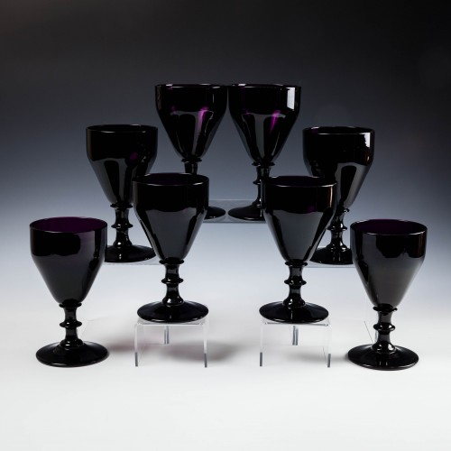 Eight Amethyst glass Rummers c1920