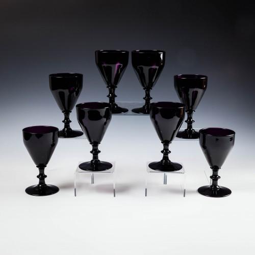 Eight Amethyst Wine Glasses c1920