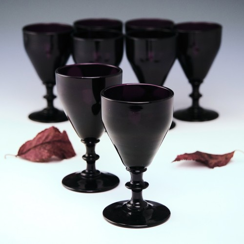 Eight Amethyst Port Wine Glasses c1920