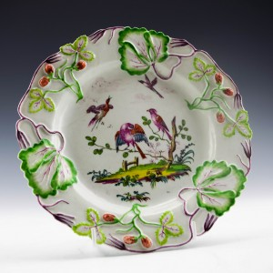 Longton Hall Porcelain Strawberry  Plate c1755