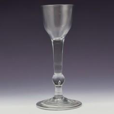 A Fine 18th Century Balustroid Wine Glass c1740