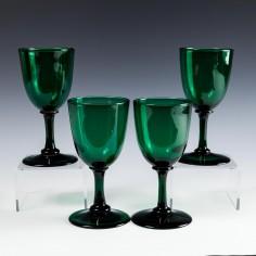 Four Regency Bristol Green Wine Glasses c1830