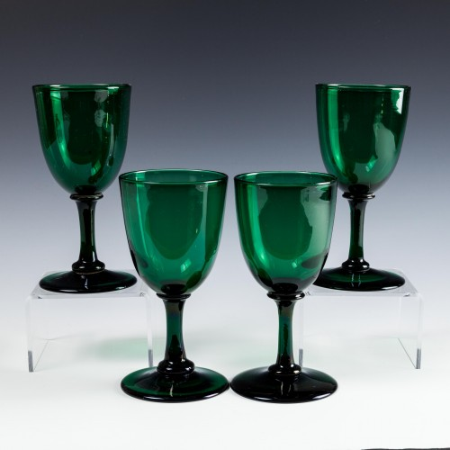 Four Regency Bristol Green Wine Glasses c1830