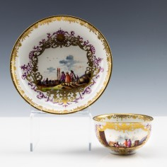 Meissen Harbour Scenes Tea bowl and Saucer c1735
