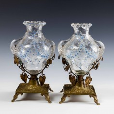 Pair of French Enamelled Glass Vases on Ormolu Pedestal Bases c1890