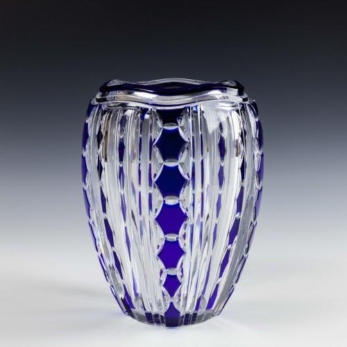 A Joseph Simon For Val Saint Lambert Pietro Cut Cased Glass Vase c1935