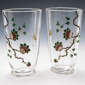 A Mirror Pair of Baccarat Enamelled Chinoiserie Vases c1910