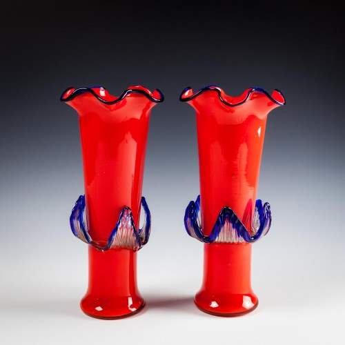 Kralik Red Tango Glass Vase With Applied Decoration c1935