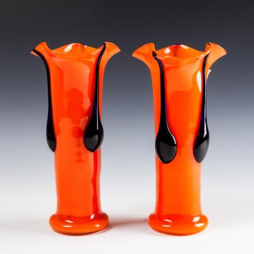 Pair Kralik Orange Tango Trefoil Vases c1935