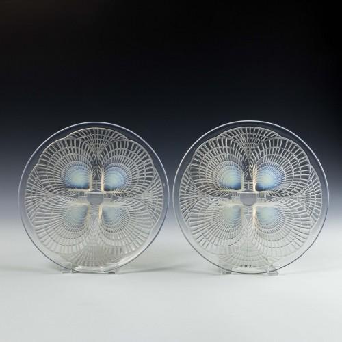 Pair Rene Lalique Coquille Plates Designed 1924