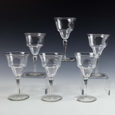 Six James Powell - Whitefriars Wine Glasses c1910