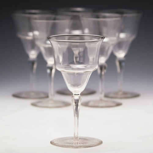 Six James Powell - Whitefriars Wine Glasses c1910