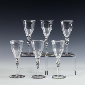 Six Powell & Sons Spiral Ribbed Glasses c1890
