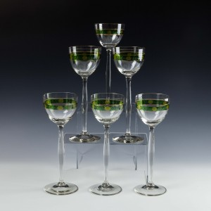 A Set of Six Very Tall  Engraved and Enamelled Secessionist Wine Glasses c1910