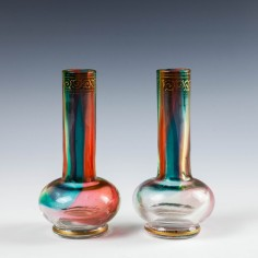 Pair Signed Moser Rainbow Glass Solifleur Vases c1890