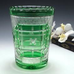 Signed Webb Art Deco Green Cased Acid Cut & Polished Vase c1930