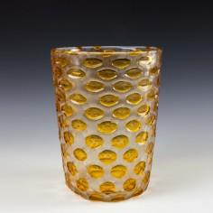 Signed Art Deco Webb Glass Amber Cased & Acid Cut  Lens Vase c1930