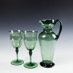 James Powell & Sons Whitefriars T G Jackson Wine Glasses and Jug c 1895