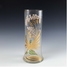 A Tall Art Nouveau Harrach Enamel and Gilded Glass Vase c1905