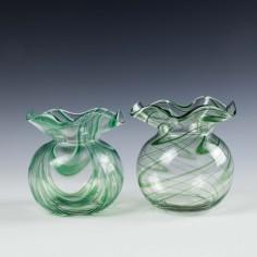 Pair of Webb Glass  Filamentosa Vases c 1880
