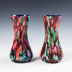 A Pair of Kralik Or Ruckl Millefiori Vases c1930