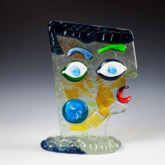 Sandro Frattin Signed Abstract Glass Head Sculpture Hommage to Picasso c1980 - Was £700