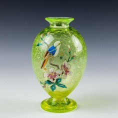 Moser Glass - Highly Enamelled Uranium Glass Vase. c 1880