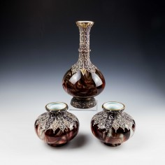 Rare Loetz Onyx Glass Complete Garniture 1887-8 - Was £795
