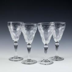 Four Thomas Webb Signed Rock Crystal Wine Glasses c1955