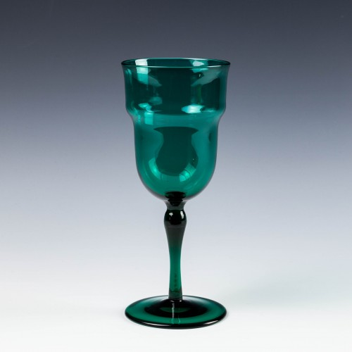 A James Powell & Sons - Whitefriars - T G Jackson Peacock Blue Wine Glass 1870-90