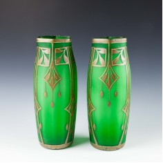 Pair of Tall Secessionist Gilded Vases - c1910