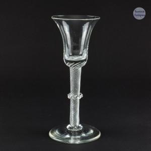 18th Century Vermicular Collar Air Twist Wine Glass c1750