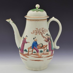First Period Worcester Porcelain  Chinoiserie Pattern Coffeepot c1773